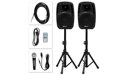 """Dual 10"""" Protable 1600W Powered Speakers w/ Bluetooth Mic Speaker Stands Control"""