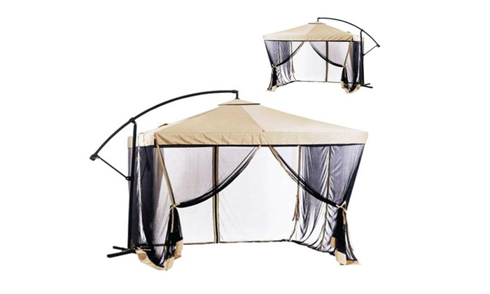 Offset Patio Umbrella 9 X With Gazebo Mesh Netting