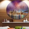 New York City Manhattan Skyline Red' Disc Cityscape Photo Circle Metal Wall Art