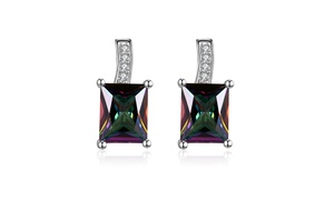 Mystic Topaz Square Drop Earrings By Golden NYC Jewelry