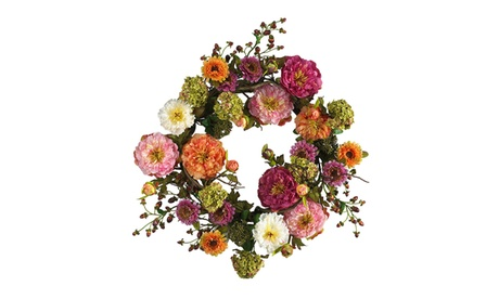 """Nearly Natural 24"""" Mixed Peony Wreath Mixed eb41c2d3-21ce-4a3f-9ce6-318114b2ee04"""