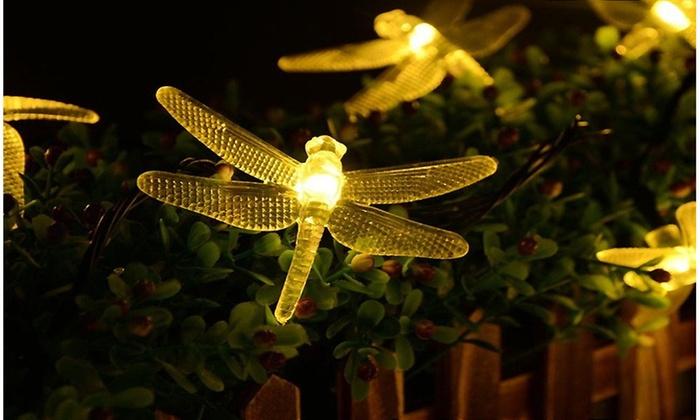 Waterproof LED Dragonfly Solar String Garden Lights ...