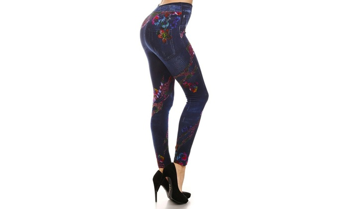 Fleece Jeggings With Rainbow Reptile Sublimation