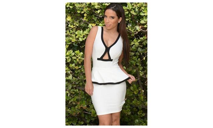 Women's White Contrast Trim Sleeveless Peplum Dress – White / one size