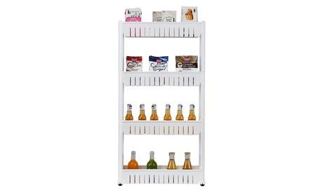 3/4 Layer Plastic Storage Rack Rolling Storage Cart White