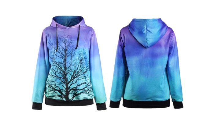 Unisex Moonligth Tree Printed Pocket Hooded Sweatshirt