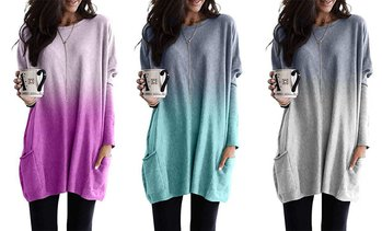 Women's Fashion Gradient Long Sleeve Pullover Tunic Casual Pocket T-shirt Top