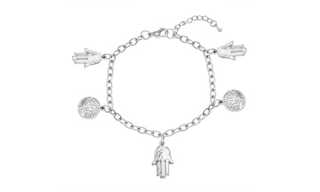 Silver-Tone Stainless Steel Tree of Life with Hamsa Charms Bracelet 91b6920c-87b3-4ef5-b2af-84de12189fa4