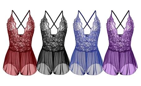 Sexy Women's Deep V-Neck Lace Sheer One Piece Teddy Nightwear 9257bb59-45b4-4071-9459-40b7fc8cb53b