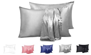 Satin Silk Pillowcase Set Pillow Covers Protector King/Queen 2 Pack