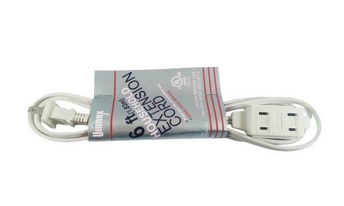 3-Outlet Power Extension Cord, 6-foot , White - Uninex