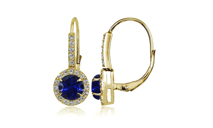 Yellow Gold Flash 925 Silver Created Blue Sapphire Amp Cz