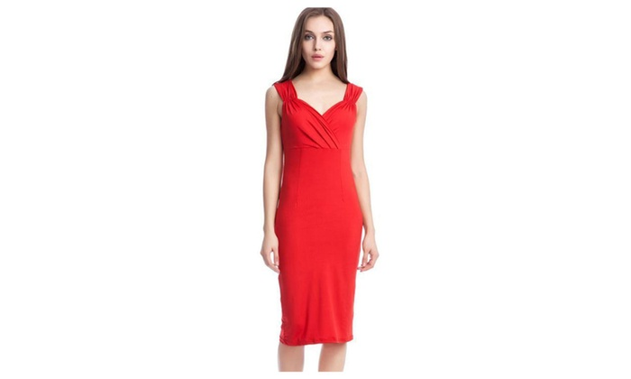Women's Cutout Midi Sheath Dress Christmas Dress - ZWWD252