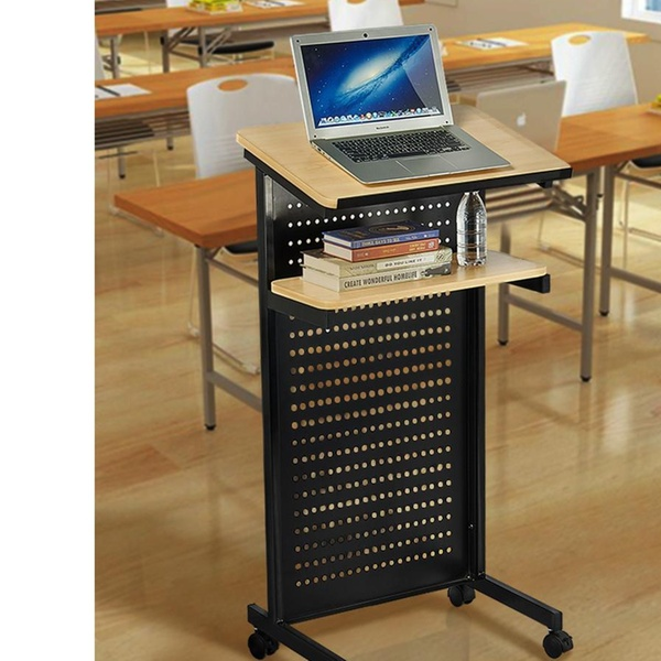 Mobile Lectern Floor Standing Podium Desk Laptop Stand With 2