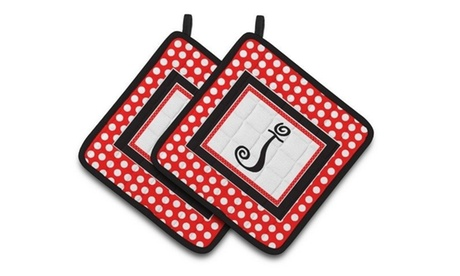 Carolines Treasures CJ1012-JPTHD Letter J Initial Monogram Red Black Polka Dots photo