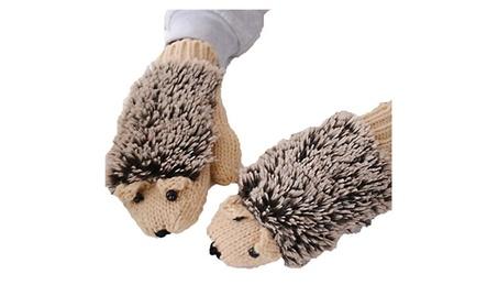 Womens Cute Hedgehog Winter Knitted Mitten Gloves 21c447b7-b75b-4608-b60f-c8a80cf3613b