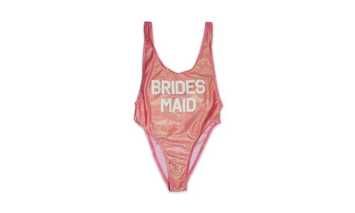 1093-shpnkbrdsmd Shiny Pink Brides Maid Womens V-Cleavage High Cut One Piece
