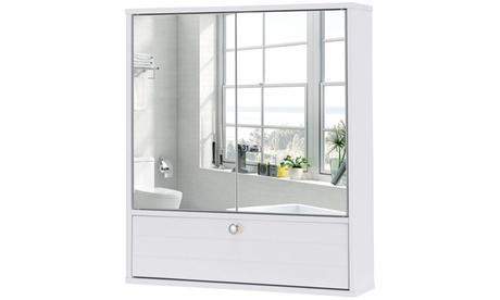 Bathroom Cabinet Double Mirror Door Wall Mount Storage Wood Shelf