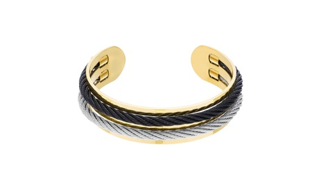 Stainless Steel Grey Black Twisted Design Cord Cuff Bangle 6974fd43-99c8-4b89-8c55-601574809ab5