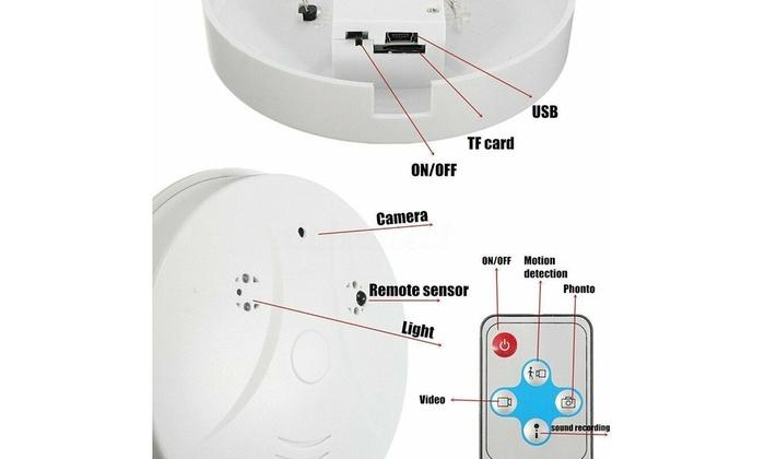 1080P Spy Hidden Camera Motion Smoke Detector Wifi Security Nanny Camera  DVR NVR