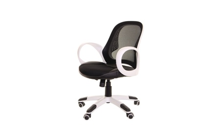 Timeoffice Ergonomic Black and White Low Back Office Chair