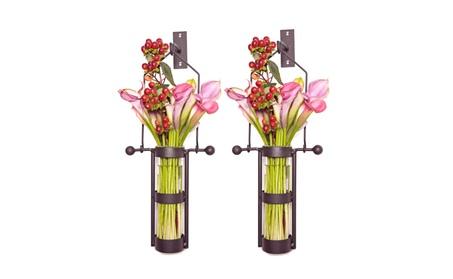 Wall Mount Hanging Glass Cylinder Vase Set with Metal Cradle and Hook 8a9529b2-de6c-434d-bd54-c7c8fd380235