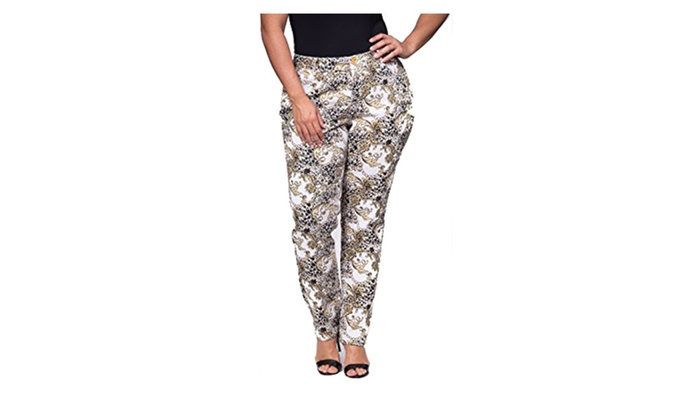 DISIANI Women's Abstract Pants Slim Fit - 100% Cotton, Comfort Fit