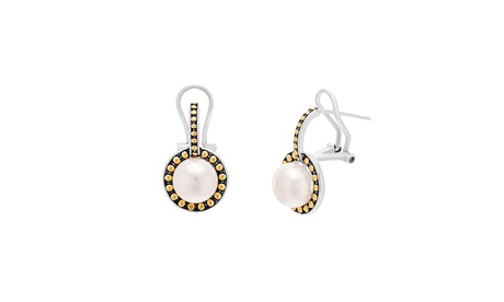 Two-Tone Sterling Silver Freshwater Pearl Beaded Border Post Clip Earring 02f41807-723d-4105-86e0-f8d9094a5156