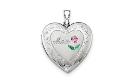Sterling Silver 24mm Enameled D/C Mom Heart Locket fa983654-b845-4275-9a81-55e2e649b991