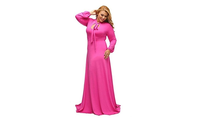 Sugarwewe Plus Size Long Sleeve Neck Bow Tie Long Maxi Dress Plus Gown