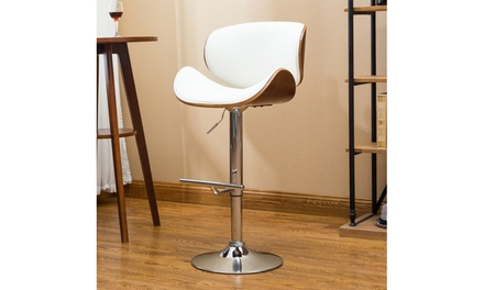Contemporary Adjustable Bar Stool with Back