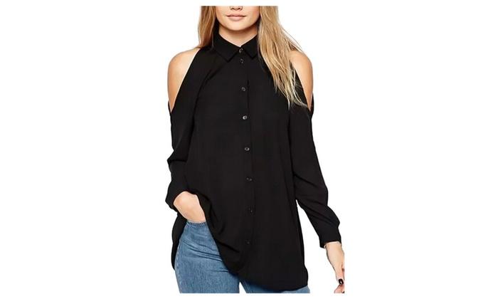 Women's Off Shoulder Long Sleeve Chiffon Blouse Casual Top Shirts