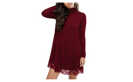 Women Knitting Turtleneck Long Sleeve Lace Cotton Casual Dress 35518ccb-3438-4492-ac71-b105e966ed56