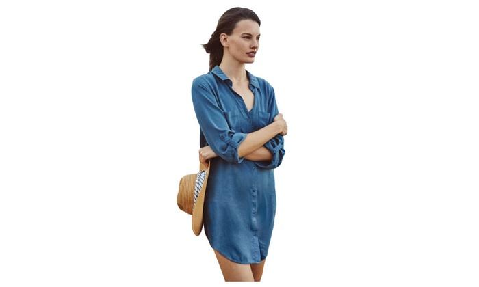 Women's Blue Silky Utility Shirtdress – Blue / one size