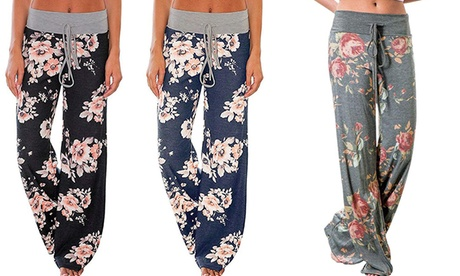 Women's Comfy Pajama Pants Floral Print Drawstring  Lounge Wide Leg Pants