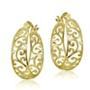 Yellow Gold Flashed Sterling Silver High Polished Filigree Hoop Earrings