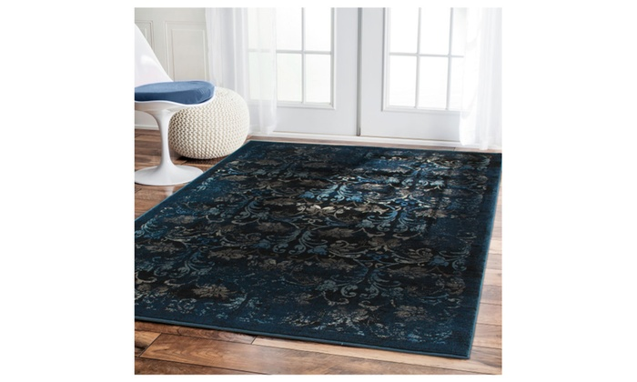 Thick Navy Area Rug 5x7 Distressed Antique Look 8x11 Tan
