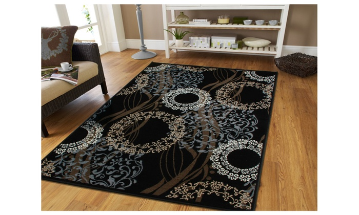 Contemporary Area Rug 8x11 Flower Circle Ribbon Pattern