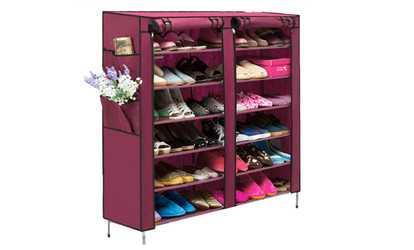 Shop Groupon Portable Shoe Rack Shelf Storage Closet Organizer 6 Layer 12  Grid