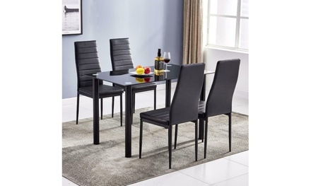 5 PIECES DINING TABLE BLACK GLASS TABLE AND 4 CHAIRS FAUX LEATHER DINNING SET