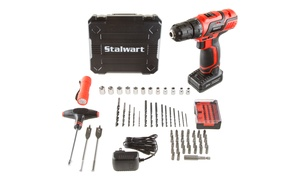 Stalwart 20V Lithium-Ion Cordless Drill and Accessory Kit (62-Piece)