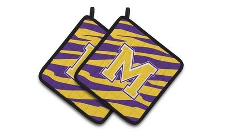 Carolines Treasures CJ1022-MPTHD Letter M Monogram - Tiger Stripe - Purple Gold photo