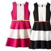 Big Girls Tween 7-16 Stripe Color-Block Scuba Knit Fit Flare Dress
