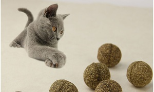 Natural Catnip Cat Toy Ball Edible Treat - Pack of 4