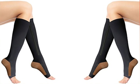 Premium Open Toe Zipper Black Copper Infused Compression Socks with 20-25 mmHg 35382c8b-6904-482a-bfb4-452c4d8b44d5