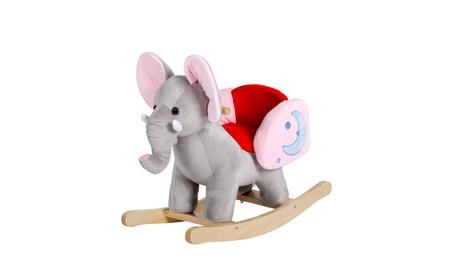 Kids Ride On Toy Elephant Rocker Musical Plush Animal Rocking Horse