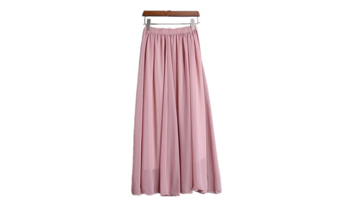 Women's Dresses Classic Elastic Retro Chiffon Pleated Long Maxi Skirt