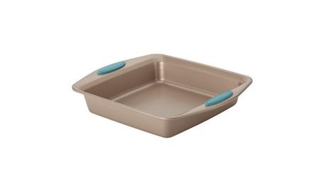 "Rachael Ray Cucina Nonstick Square Cake Pan 9"" Brown w Agave Blue 0d58d9ca-5ec2-45a7-a9e0-f8cf05ebb982"