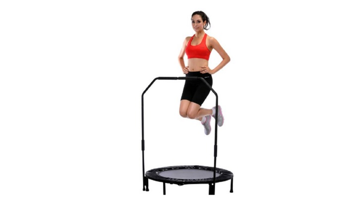 Sunny Health & Fitness 40″ Foldable Trampoline with Stabilizing Bar