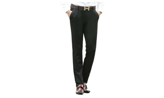 Men's Simple Zip Up with Button Closure Solid Slim Fit Pants